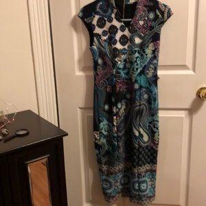 NY & Company blue paisley bodycon dress XS